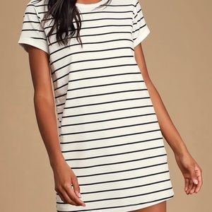 Lulus white and black striped t shirt mini dress